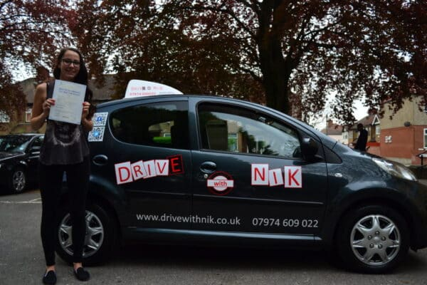 Driving lessons Palmers Green Suzi passed her practical driving test with Drive with Nik