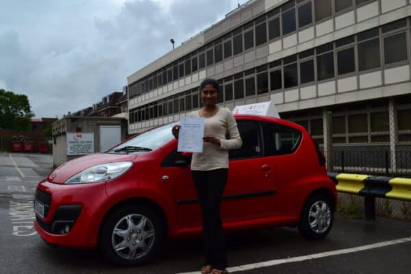 Driving lessons Palmers Green Achala passed her practical driving test