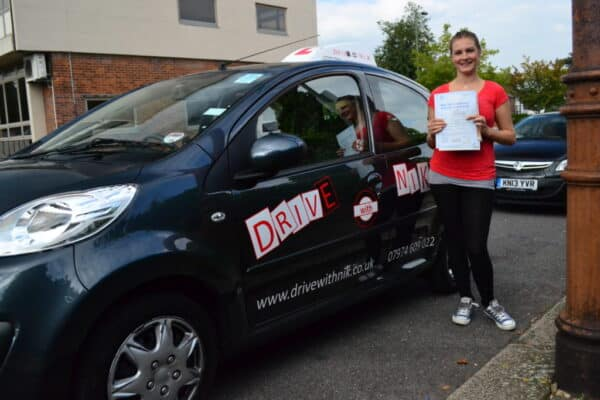 Driving lessons Barnet Sarah passed her practical driving test first time