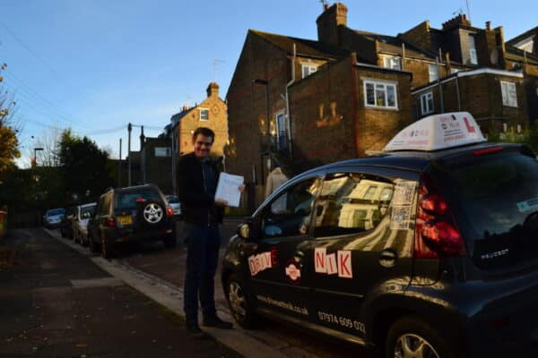 Driving lessons Crouch End Ciarán passed his practical driving test first time