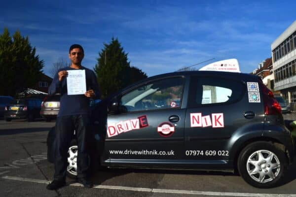 Driving lessons Southgate Bilal passed his practical driving test first time