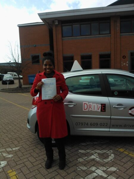 Victoria passed her driving test first time