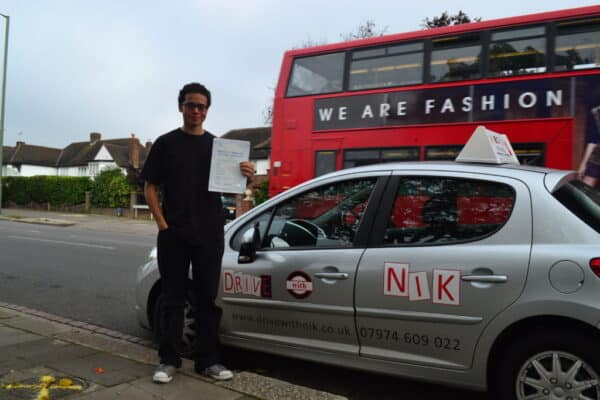 Driving lessons Crouch End Gabriel passed his practical driving test first time
