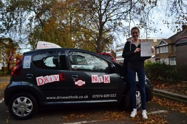 Driving lessons Muswell Hill Izzy passed her practical driving test first time