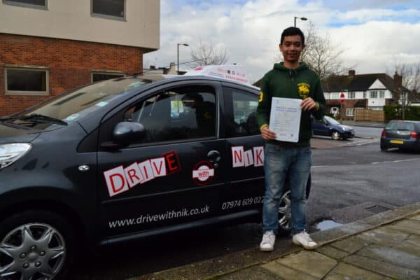 Driving lessons Barnet Agustin passed his practical driving test with Drive with Nik