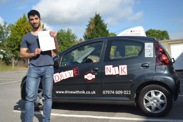 Ashkan passed his practical driving test first time with Drive with Nik