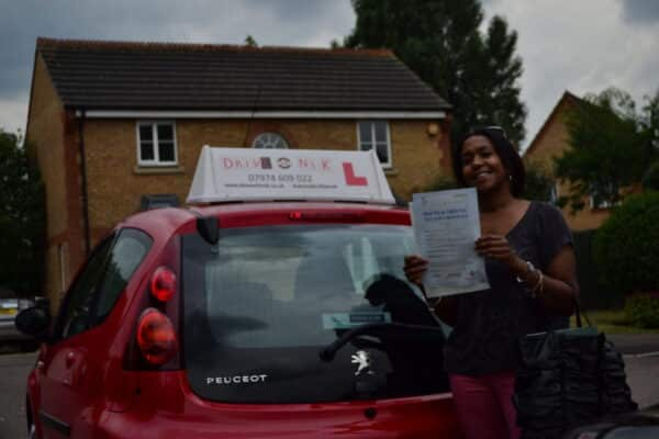 Odette passed her automatic practical driving test with Drive with Nik