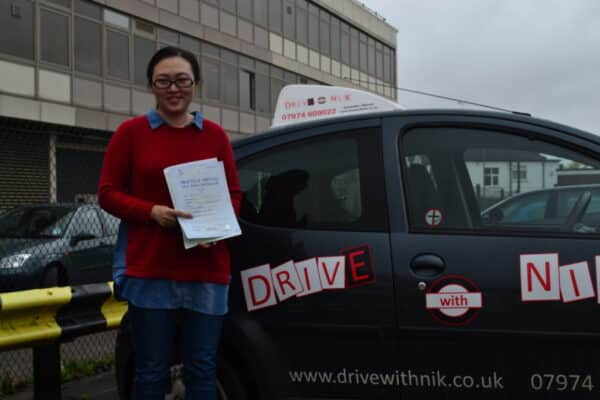 Yan passed her manual practical driving test first time with Drive with Nik