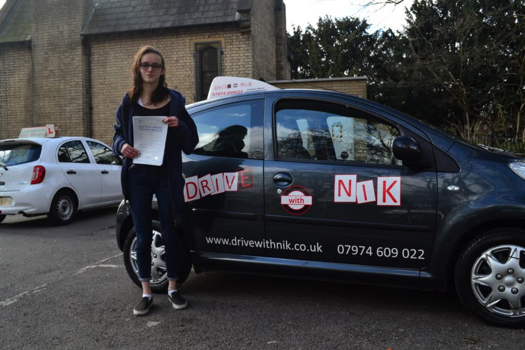 Alice passed her manual practical driving test first time with Drive with Nik