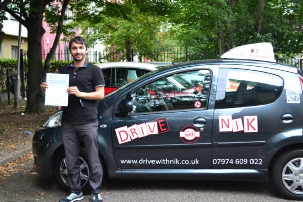 Daniel passed his manual practical driving test first time with Drive with Nik
