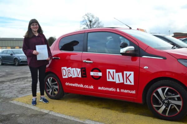 Manual driving lessons Southgate Naomi passed her practical driving test first time with Drive with Nik