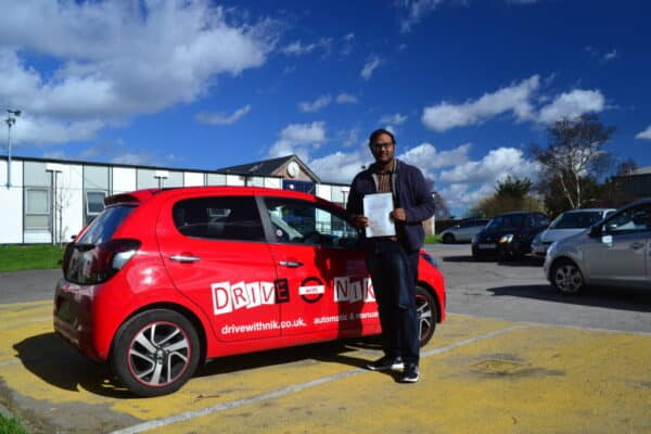 Manual driving lessons Palmers Green Sasi passed his practical driving test with Drive with Nik