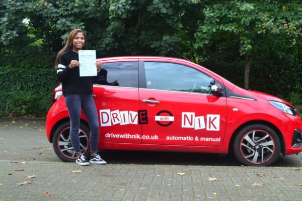 Manual Driving Lessons Palmers Green. Tanya passed her manual driving test first time with Drive with Nik
