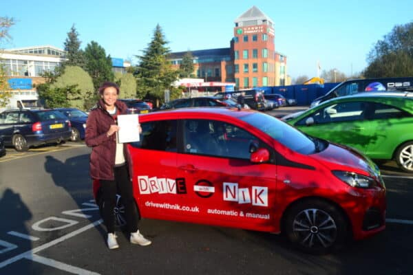 Automatic Driving Lessons Palmers Green. Zara passed her automatic driving test first time with Drive with Nik