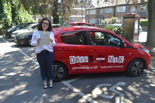 Automatic Driving Lessons Crouch End. Andreia passed her driving test first time with Drive with Nik.