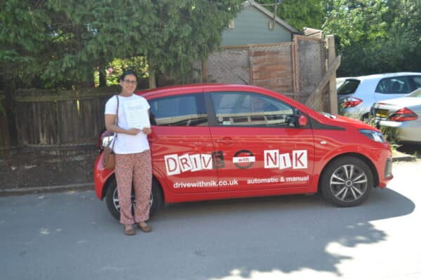 Automatic Driving Lessons Crouch End. Priya passed her driving test with drive with Nik.