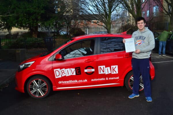 Driving Lessons Wood Green. Joe passed first time with Drive with Nik.