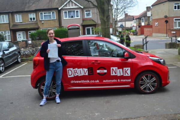 Driving Lessons Bounds Green. Julia passed her driving test with Drive with Nik.