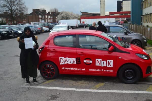 Automatic Driving Lessons Crouch End. Suad passed first time with Drive with Nik.