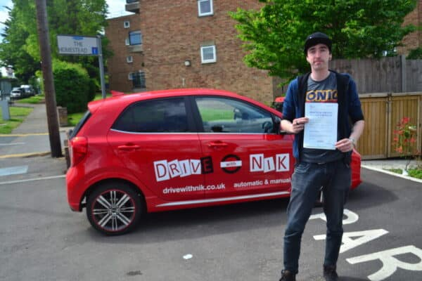 Driving Lessons Southgate. Gavin passed first time with Drive with Nik.