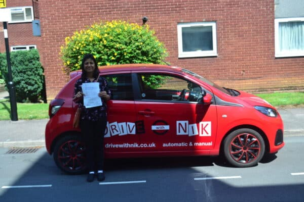 Automatic Driving Lessons Southgate. Anshu passed her driving test first time with Drive with Nik.