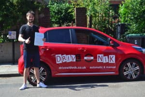 Driving Lessons Crouch End. Harry passed his driving test first time with Drive with Nik.