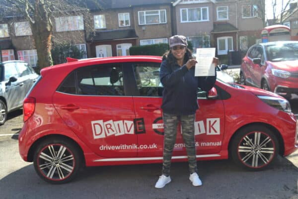 Driving Lessons Wood Green. Rosie passed her driving test at the first attempt with Drive with Nik.