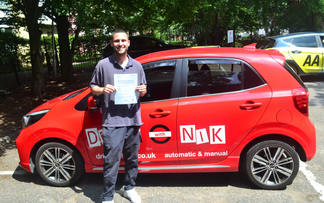 Driving Lessons North London. Dom passed 1st time.